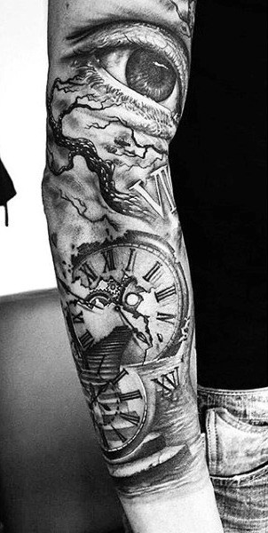 clock tattoo design men