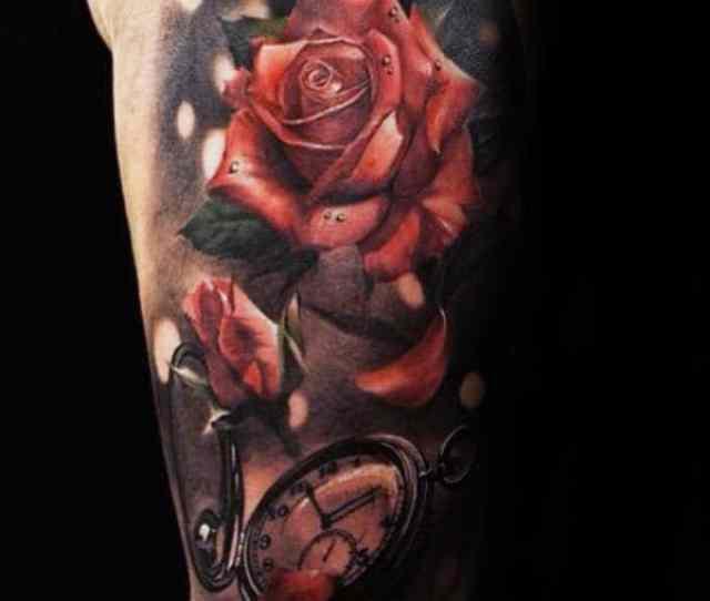 Pocket Watch Realistic Rose Petals Mens Half Sleeve Tattoos
