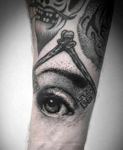Realistic Eye Illuminati Tattoo For Men Forearms