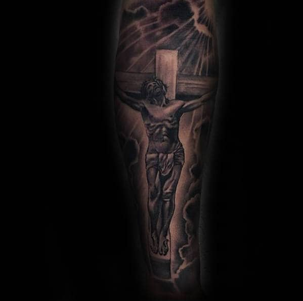 Jesus On Cross Forearm Tattoo