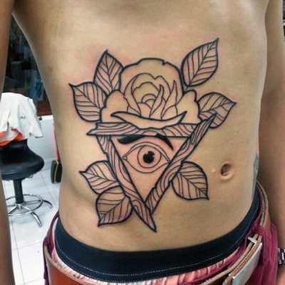 Rose And Leaves Illuminati Tattoo Male Torso