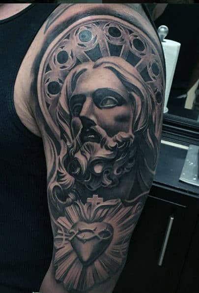 Jesus Half Sleeve Tattoo : jesus, sleeve, tattoo, Jesus, Sleeve, Tattoo, Ideas, [2021, Inspiration, Guide]