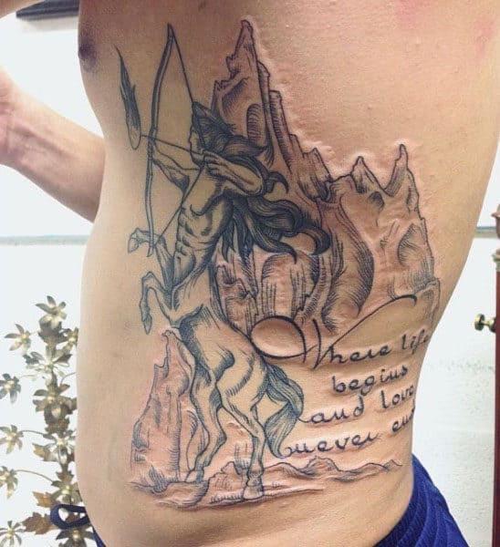20 Sagittarius Tattoos Designs For Men Rib Cage Ideas And Designs