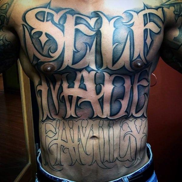 script tattoos men - cursive