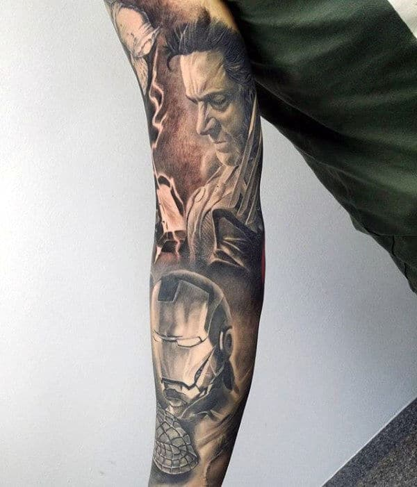 Marvel Sleeve Tattoo Black And Grey