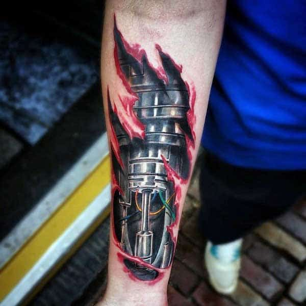 Ripped Skin Tattoo Forearm