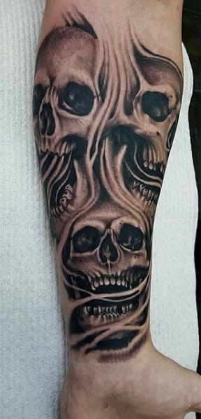 Skull Smoke Men's Tattoos On Wrist