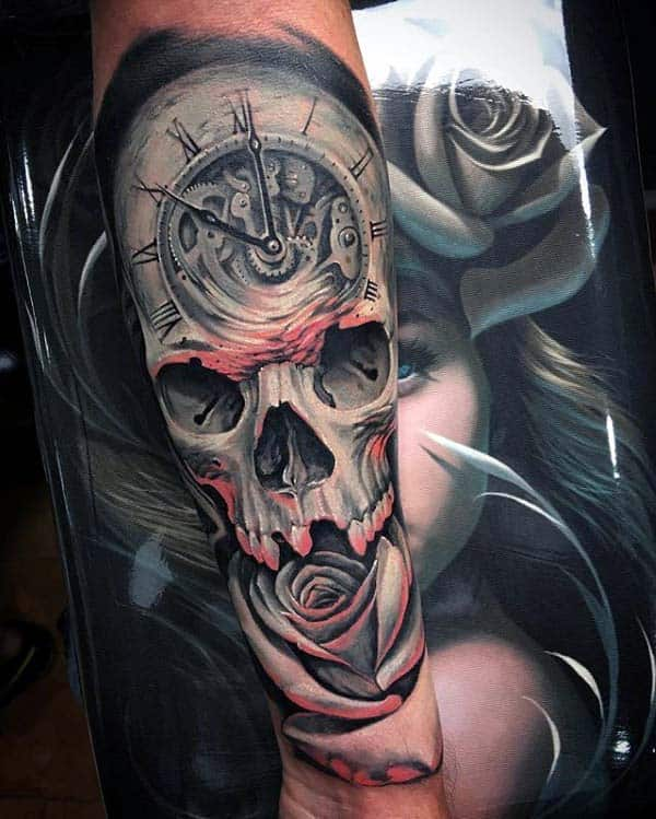 20 Pocket Watch Skull Rose Tattoos Ideas And Designs