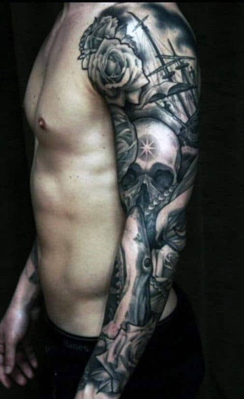 Shark And Skull Sleeve Tattoos For Men
