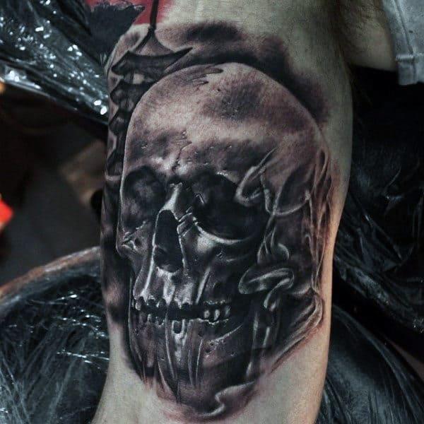 Smoking Skull Tattoo For Men