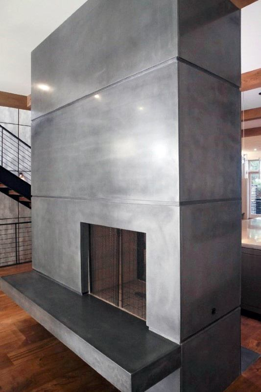 Top 60 Best Concrete Fireplace Designs Minimalistic