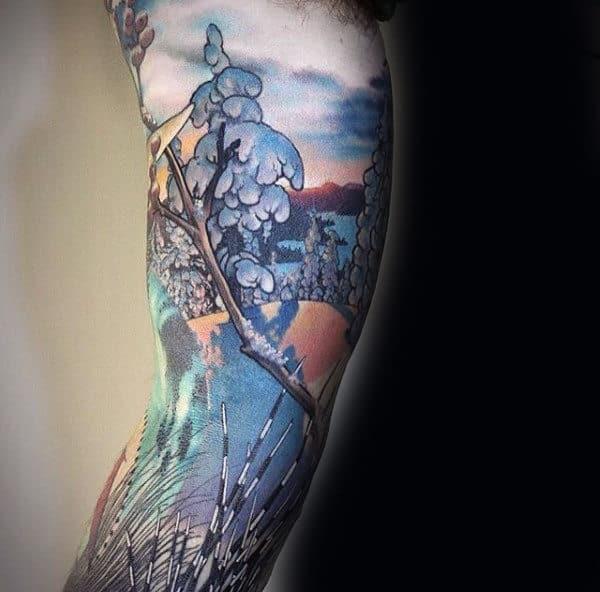 Snow Tree Sleeve Mens Tattoo Designs