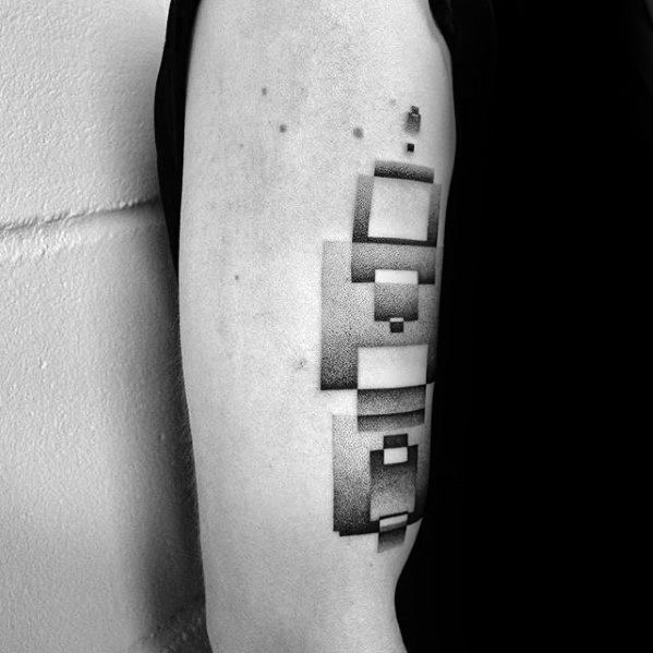 Square Blocks Dotwork Simple Geometric Male Arm Tattoos