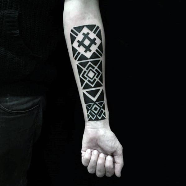 Square Blocks With Negative Space Design Guys Simple Geometric Forearm Tattoo