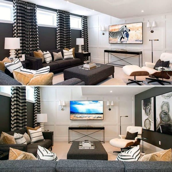 basement living rooms luxury room decorating ideas 70 home design for men masculine retreats traditional contemporary finished