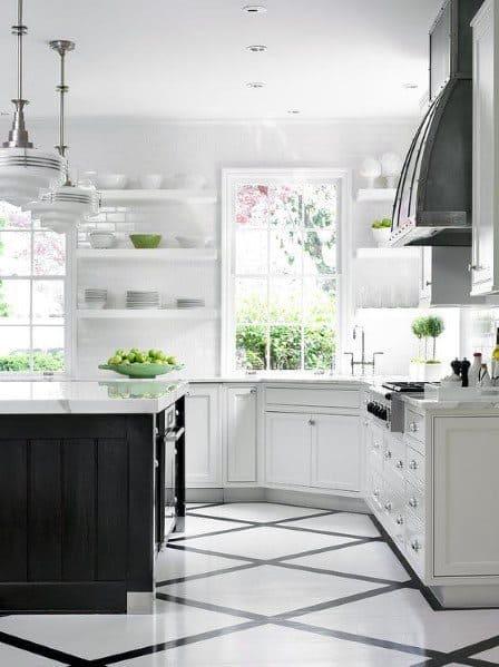 White Tile Kitchen Floor Ideas Novocom Top