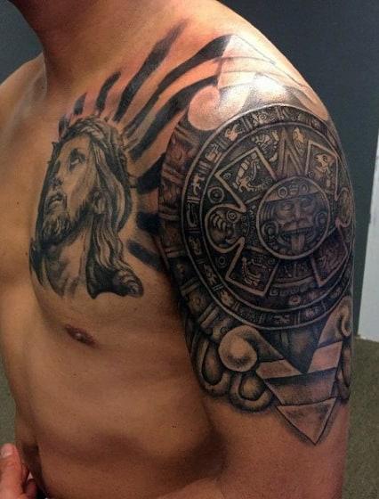 Aztec Shoulder Tattoo : aztec, shoulder, tattoo, Aztec, Tattoo, Ideas, [2021, Inspiration, Guide]