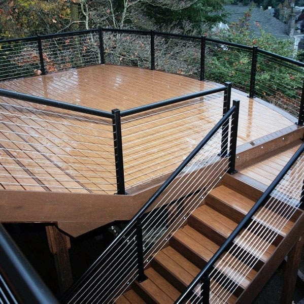Top 50 Best Metal Deck Railing Ideas Backyard Designs   Metal Handrails For Decks   Small Deck   Outdoor   Residential   Metal Rope   Decorative