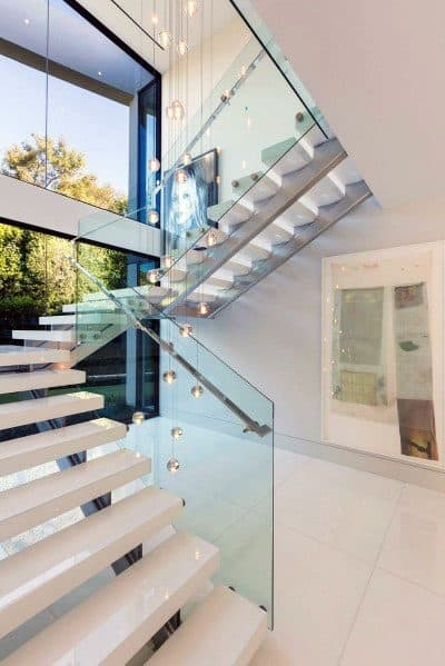 Top 70 Best Stair Railing Ideas Indoor Staircase Designs | Staircase Steel Railing Designs With Glass | Glass Panel Wooden Handrail | Modern Style | Stair Glass Void | Curved | Metal