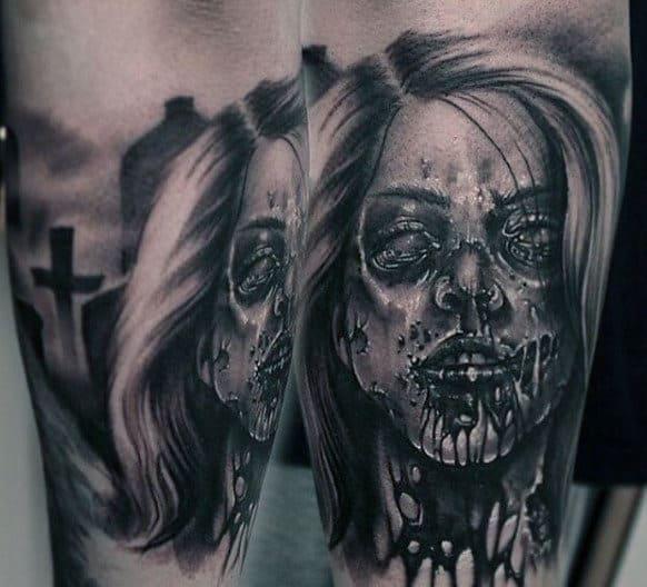 zombie tattoos men - masculine