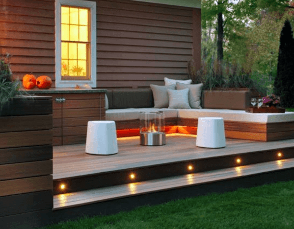 Top 50 Best Deck Steps Ideas Backyard Design Inspiration   Patio With Stairs From House   Concrete Slab   Simple   Back Yard   Composite Decking   Main Entrance Stamped Concrete Front