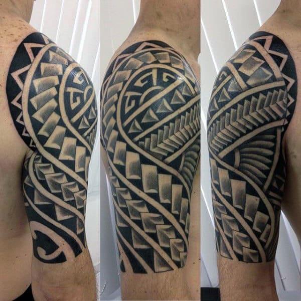Polynesian Tribal Arm Sleeve Tattoos