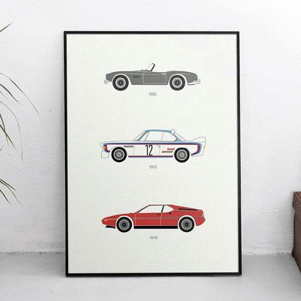 Vintage Car Diagrams Bachelor Pad Decor Framed Poster
