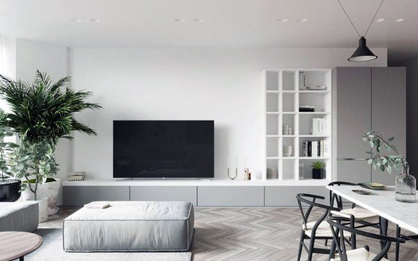 living room picture wall table top 70 best tv ideas television designs white and grey luxury