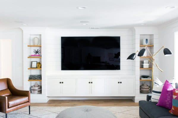 white wall decorations living room orange sofas top 70 best tv ideas television designs built in cabinets for home
