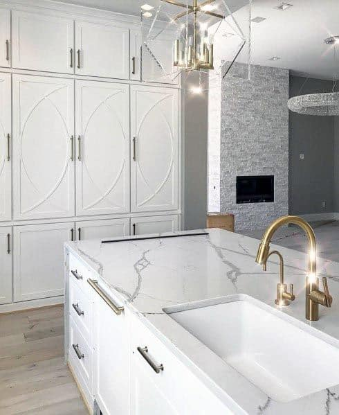 Off White Kitchen Cabinets With Gold Hardware Novocom Top