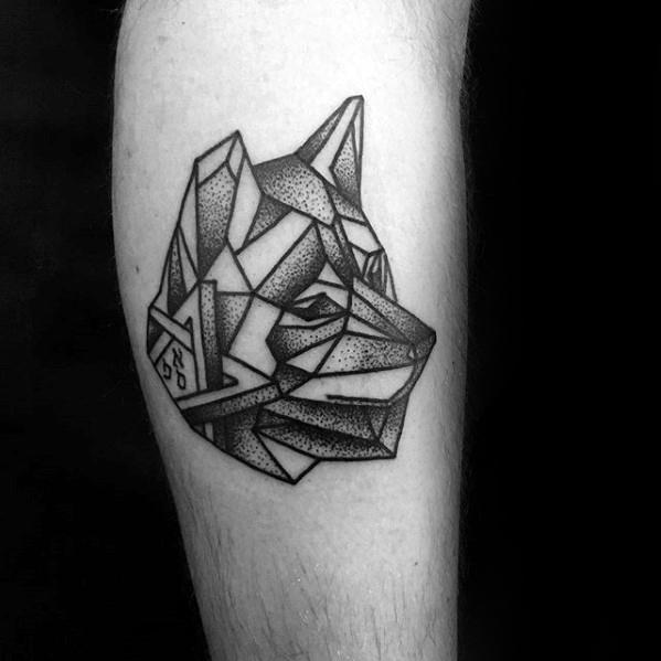 Wolf Head Guys Dotwork Simple Geometric Inner Forearm Tattoo