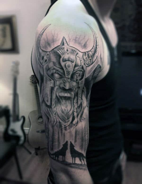 20 Norse Wolf Half Sleeve Tattoos For Men Ideas And Designs