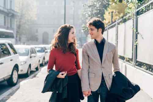 young beautiful couple walking