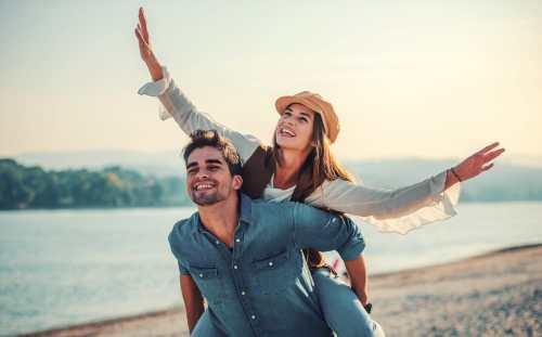 young couple enjoying summer time