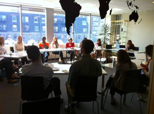 Eliza Petrow (J.C. Flowers) & Sasha Rabsey (The HOW Fund) talked to Next Mile Project members about the donor perspective and grantee/grantor relationships on Tuesday, September 17, 2013.