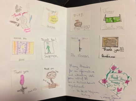 Inside of a thank you card sent by Kinlochbervie school following their visit to Next of Kin