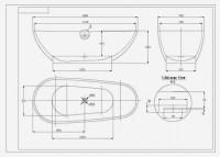 Freistehende Badewanne VIGO ACRYL 180x80 inkl. Ab ...