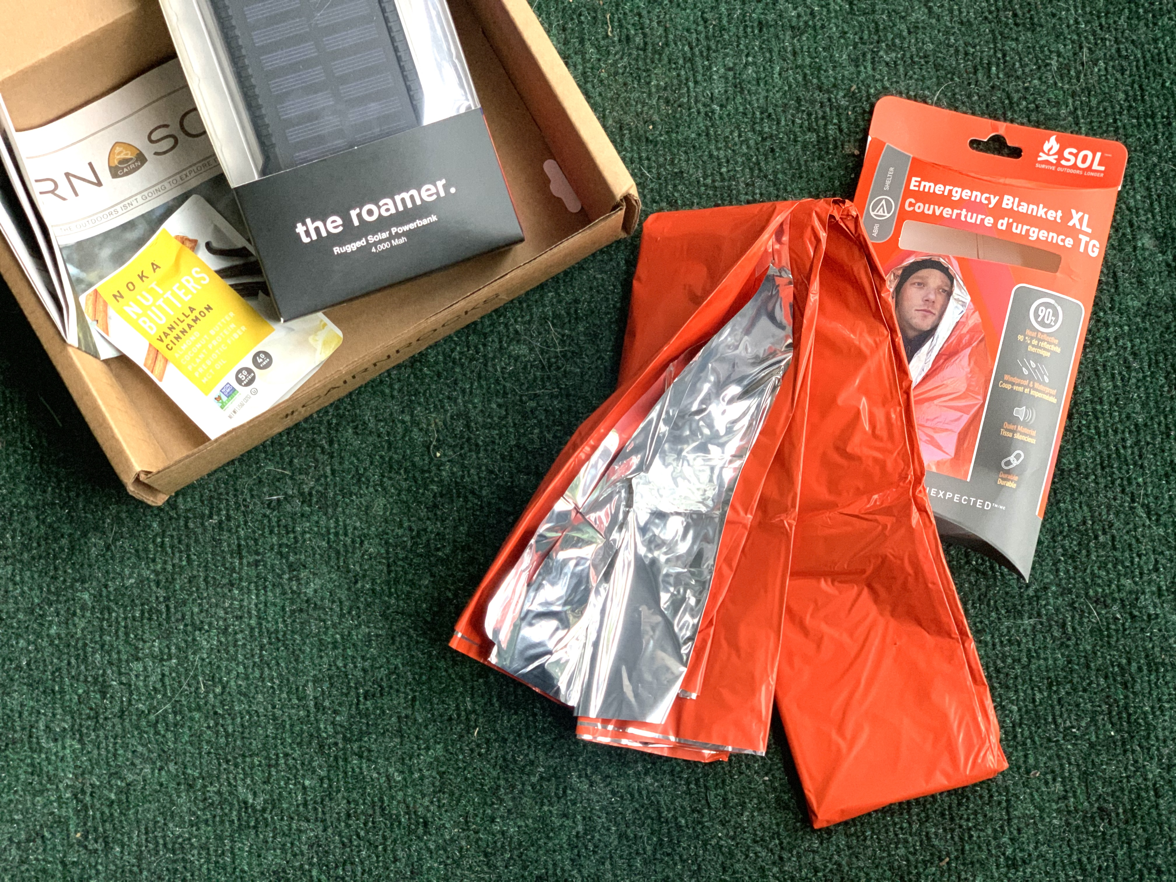 emergency blanket in outdoor subscription box
