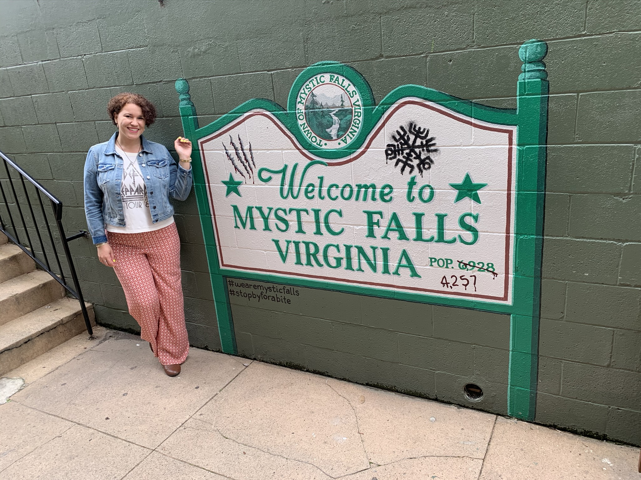 Mystic Falls sign at The Alley in Mystic Grill