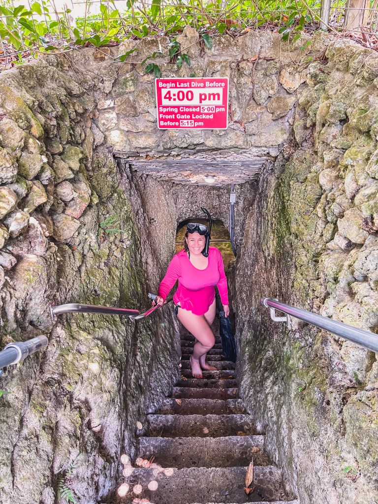 underground spring cave staircase entrance