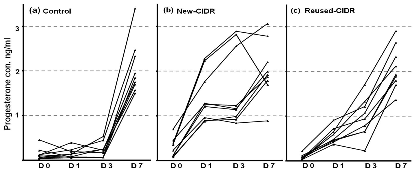 hight resolution of  in individual cows in control group a cows received a new cidr b or cows received previously used cidr c the cidr was inserted at day of estrus