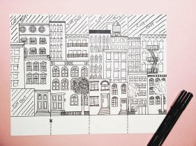 NYC street scene illustration for craft activity