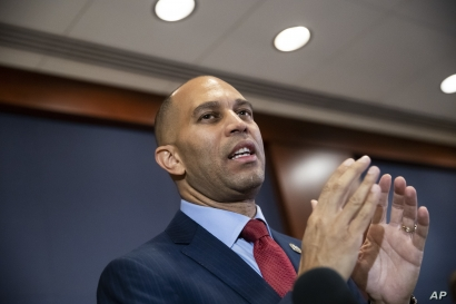 Rep. Hakeem Jeffries, D-N.Y., meets with reporters after being elected chairman of the House Democratic Caucus for the 116th Congress, at the Capitol in Washington, Nov. 28, 2018.