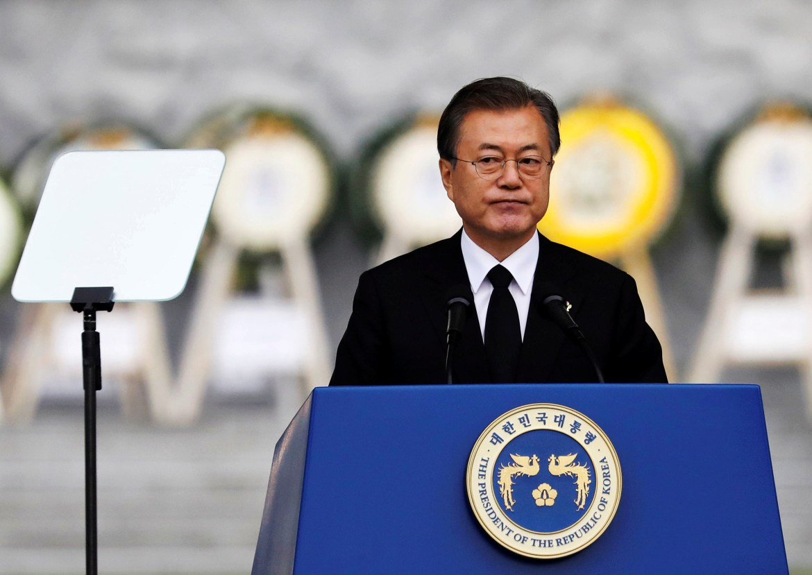 South Korean President Moon Jae-in delivers his speech during a ceremony marking Korean Memorial Day at the National Cemetery in Seoul, South Korea, June 6, 2019.