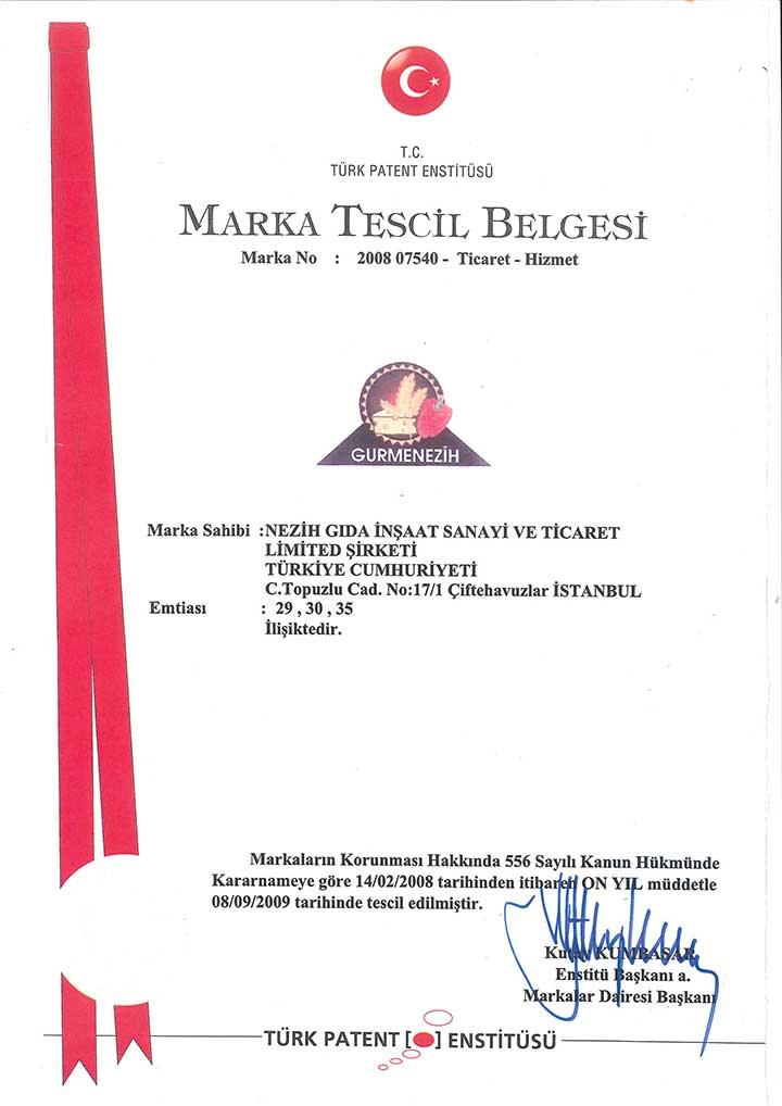 Marka Tescil Belgesi – 1