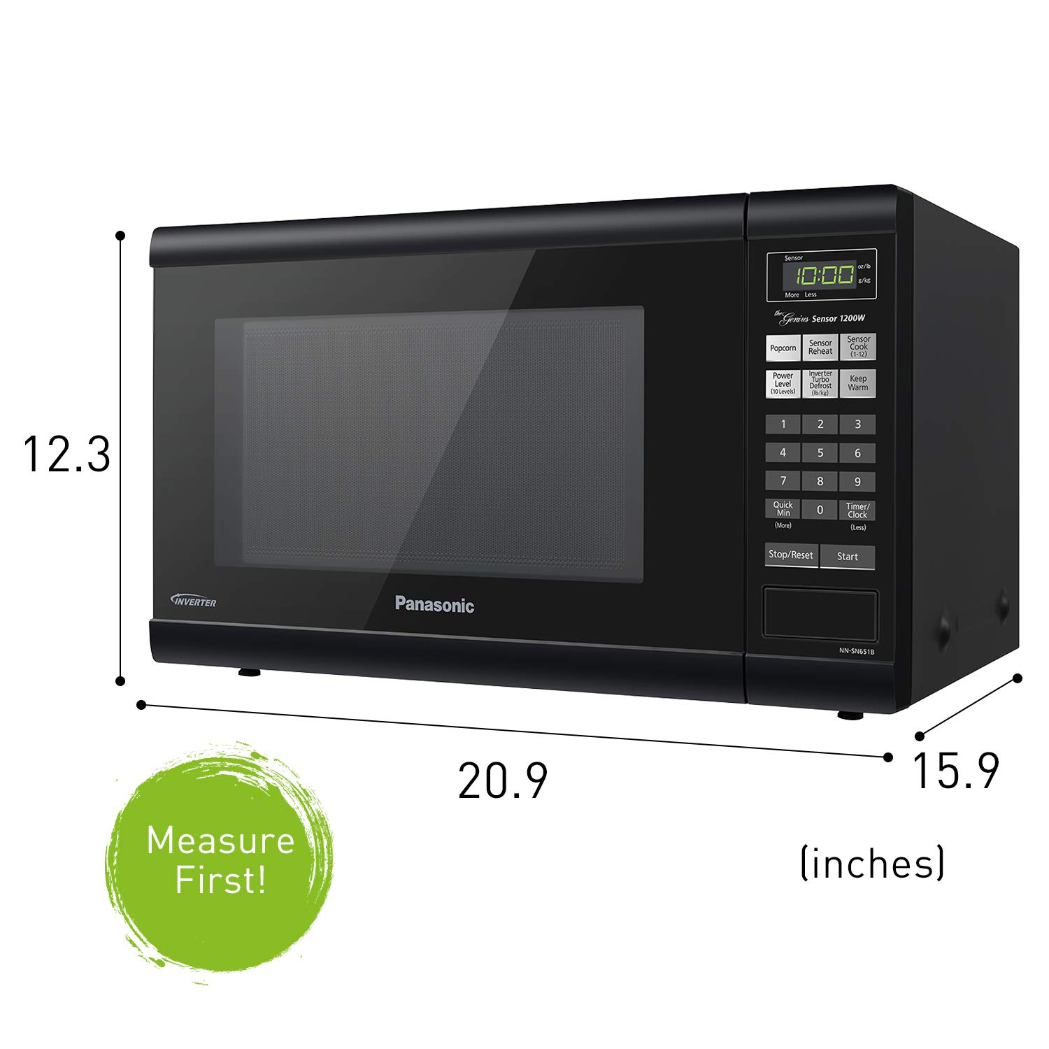 panasonic nn sn651b 1200w microwave with multi stage cooking system and inverter technology 1 2 cu ft black nezmart