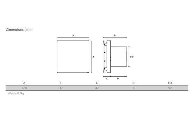 Vent Axia VASF100T Silent Bathroom Toilet wall/window
