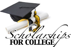 Image of a graduation cap and scholarship scroll with text that reads Scholarships for College