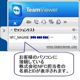 TeamViewer 接続中表示