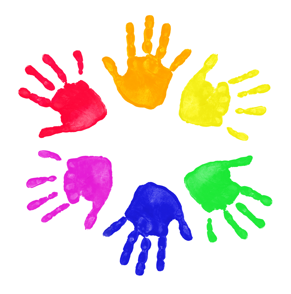 Painted handprints in a circle.